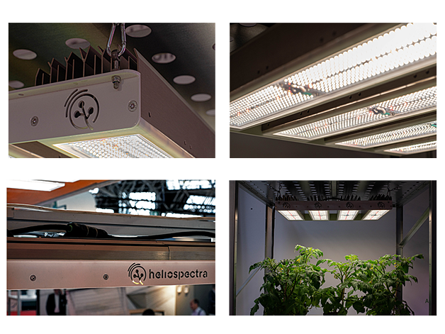 Four pictures of the MITRA LED Grow light being used.